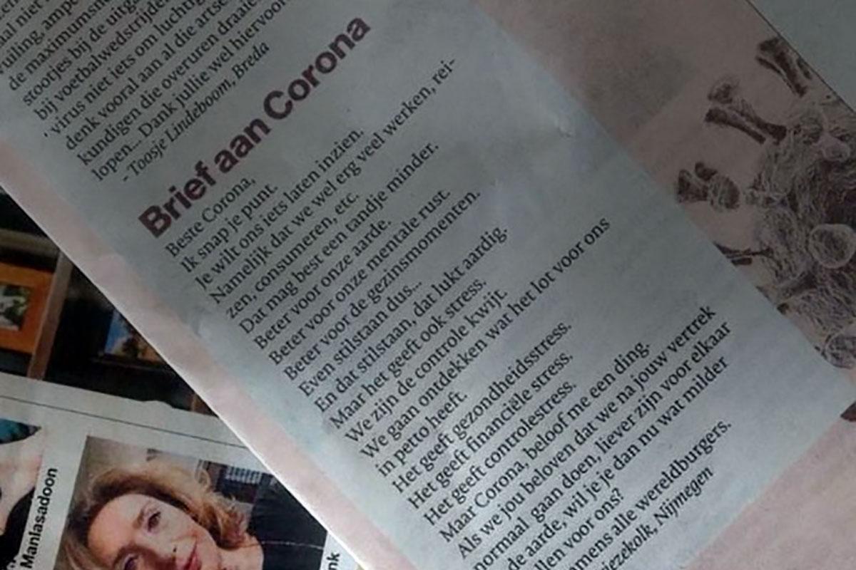 Brief aan Corona gaat viraal